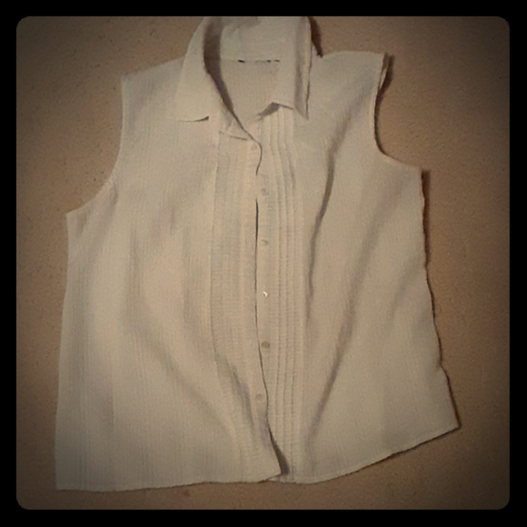Tops - White Collared tank